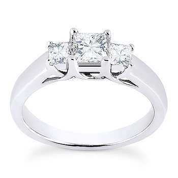 Square Brilliant Cut Moissanite 3 Three-Stone Engagement Ring in 14k White Gold