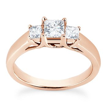 Square Brilliant Princess Moissanite 14k Rose Gold 3 Three-Stone Engagement Ring