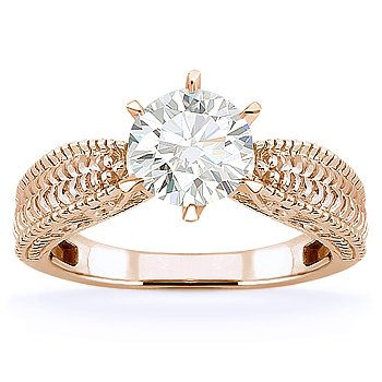 Round Brilliant Moissanite 14k Rose Gold Antique-Style Solitaire Engagement Ring