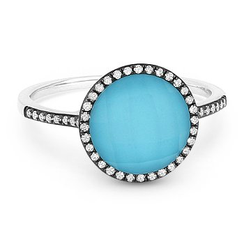2.42 ct Blue Turquoise & Topaz Doublet Diamond Halo Pave Ring in 14k White Gold