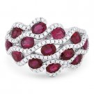 3.59 ct Oval Cut Red Ruby & Diamond Pave 18k White Gold Right-Hand Fashion Ring