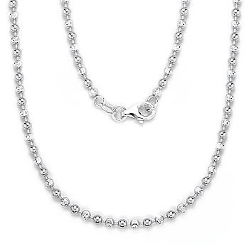 Solid Italy 925 Sterling Silver 2.5mm Ball Bead Link Italian Long Chain Necklace