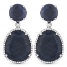 33.05 ct Sapphire & Round Cut Diamond Pave 14k White Gold Dangling Drop Earrings