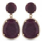 30.90 ct Red Ruby Round Cut Diamond Pave Dangling Drop Earrings in 14k Rose Gold