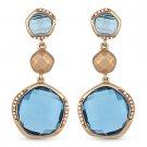 20.15 ct Blue Topaz & Round Cut Diamond Dangling Drop Earrings in 14k Rose Gold