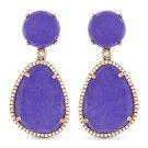 23.60 ct Purple Jade Round Cut Diamond Pave 14k Rose Gold Dangling Drop Earrings