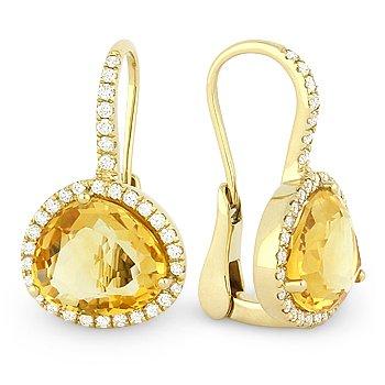 7.97 ct Citrine & Diamond Halo Leverback Dangling Drop 14k Yellow Gold Earrings