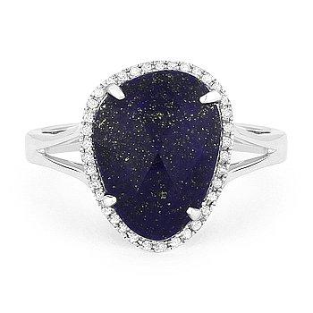 3.24 ct Blue Lapis Lazuli Round Cut Diamond Halo Right-Hand 14k White Gold Ring