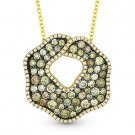 1.63ct Fancy Color Diamond Pave Pendant & Chain Necklace 14k Yellow & Black Gold