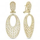 3.41 ct Round Cut Diamond Pave & Cluster 14k Yellow Gold Dangling Drop Earrings
