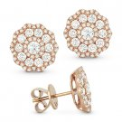 1.40 ct Round Brilliant Cut Diamond Pave Flower Stud Earrings in 14k Rose Gold