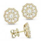 1.40 ct Round Brilliant Cut Diamond Pave Flower Stud Earrings in 14k Yellow Gold