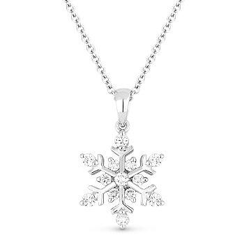 0.25ct Round Cut Diamond Snowflake Charm Pendant & Chain Necklace 14k White Gold