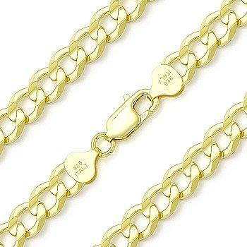 Cuban Curb Sterling Silver 14k Yellow Gold Men's 7mm Link Italian Chain Bracelet