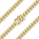 5.1mm Miami Cuban Curb Link Sterling Silver 14k Yellow Gold Italy Chain Necklace
