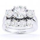 Round Cut Moissanite Engagement Ring & Wedding Band Bridal Set in 14k White Gold