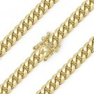 6.4mm Miami Cuban Curb Link Sterling Silver 14k Yellow Gold Italy Chain Necklace