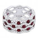2.45 ct Round Cut Red Ruby & Diamond Pave 18k White Gold Right-Hand Fashion Ring