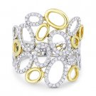 0.35 ct Round Diamond 14k Yellow White Gold Right-Hand Oval Cluster Fashion Ring