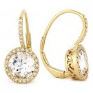 3.17 ct Round Cut White Topaz Diamond Leverback Drop Earrings in 14k Yellow Gold