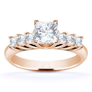 Square Cut Forever Brilliant Moissanite 7-Stone Engagement Ring in 14k Rose Gold