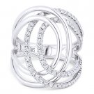 0.74 ct Round Cut Diamond Right-Hand Overlap Loop Fashion Ring in 14k White Gold