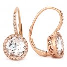 3.08 ct Round Cut White Topaz Diamond 14k Rose Gold Leverback Dangling Earrings