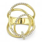 0.25 ct Round Cut Diamond 14k Yellow Gold Right-Hand Overlap Swirl Fashion Ring