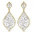 0.36 ct Round Cut Diamond Pave Dangling Drop Fashion Earrings in 14k Yellow Gold
