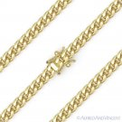 4.2mm Miami Cuban Curb Link Sterling Silver 14k Yellow Gold Italy Chain Necklace