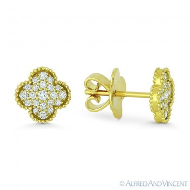 0.31 ct Round Brilliant Cut Diamond Pave Flower Stud Earrings in 18k Yellow Gold