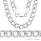 7mm Cuban Curb Link Diamond-Cut Pave 925 Sterling Silver Italian Chain Necklace