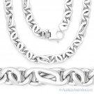 Men's Lightweight 8.7mm Tiger-Eye Link Italian Chain Necklace in Sterling Silver