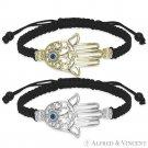 Hamsa Hand of Fatima Evil Eye Kabbalah Luck Charm .925 Sterling Silver Bracelet