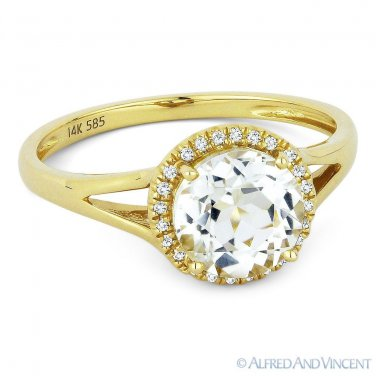 1.69ct Round White Topaz Diamond Halo Promise Engagement Ring in 14k Yellow Gold