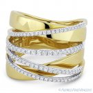 0.61ct Round Cut Diamond Right-Hand Overlap Wrap Ring in 14k Yellow & White Gold