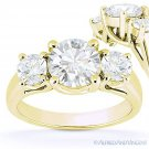 Forever ONE D-E-F Round Cut Moissanite 14k Yellow Gold 3-Stone Engagement Ring