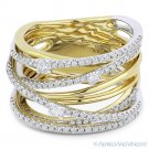 0.81ct Round Cut Diamond 14k Yellow & White Gold Right-Hand Overlap Fashion Ring