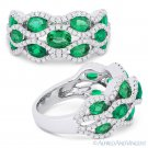2.71ct Oval Cut Emerald & Diamond Pave Right-Hand Fashion Ring in 18k White Gold