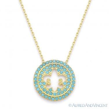 Fleur-De-Lis Charm Nano Crystal Pendant & Chain Necklace in .925 Sterling Silver