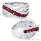 1.61 ct Round Cut Red Ruby & Diamond Pave 18k White Gold Right-Hand Fashion Ring