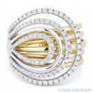 0.77 ct Round Cut Diamond Loop 14k Yellow & White Gold Right-Hand Cocktail Ring