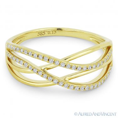 0.15ct Diamond Right-Hand Multi-Arch Overlap Statement Ring in 14k Yellow Gold
