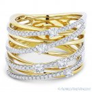 0.63ct Round Cut Diamond Right-Hand Overlap Loop Wrap Ring 14k Yellow White Gold