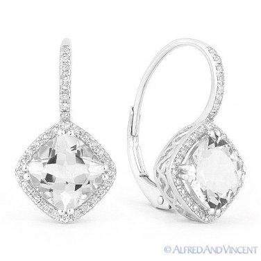 3.86ct Cushion Cut White Topaz Round Diamond Leverback Drop Earrings in 14k Gold