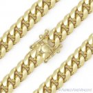 8.3mm Miami Cuban Curb Link Italy Sterling Silver 14k Yellow Gold Chain Necklace