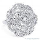 1.47 ct Round Cut Diamond Pave Right-Hand Flower Cocktail Ring in 18k White Gold