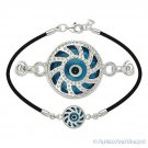 Evil Eye Turkish Nazar Greek Luck Charm .925 Sterling Silver & Rubber Bracelet