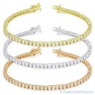 3mm Round Cut Cubic Zirconia CZ Crystal Tennis Bracelet in .925 Sterling Silver