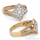 0.75 ct Round Cut Diamond Pave Flower Right-Hand Cocktail Ring in 18k Rose Gold